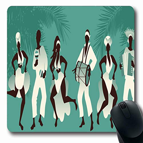 Ahawoso Mousepads Band Group Dancing Playing Latin Cuban Contemporary Girl Accordion Afro American Ballet Design Drum Oblong Shape 7.9 x 9.5 Inches Non-Slip Gaming Mouse Pad Rubber Oblong Mat