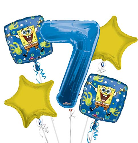 Amazon.com: Bob Esponja el Globo Ramo 7th Birthday 5 Pcs ...