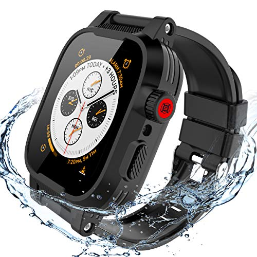 Waterproof Case for Apple Watch 44mm Series 4, 44mm iWatch Case Full Body Protective Dropproof Armor Rugged with Watch Series 4 Soft Silicone Band Clear Back Case for Apple Watch 4 Series 44mm (black)