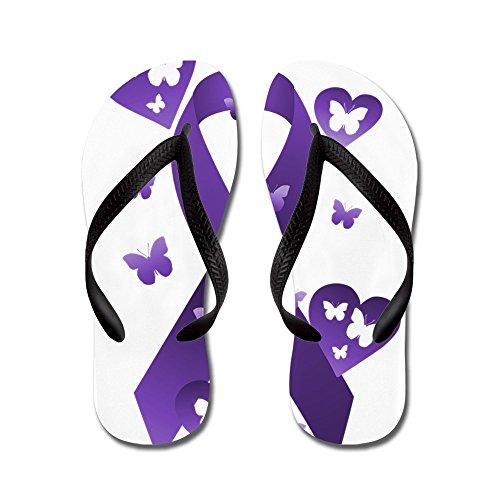 Nastro Di Consapevolezza Viola Cafepress - Infradito, Sandali Infradito Divertenti, Sandali Da Spiaggia Neri