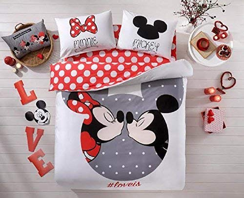 (100% Cotton Comforter Set 5 PCS Full Queen Size Disney Minnie Loves Kisses Mickey Mouse Heart Theme Bedding Linens Quilt Doona Cover Sheets)