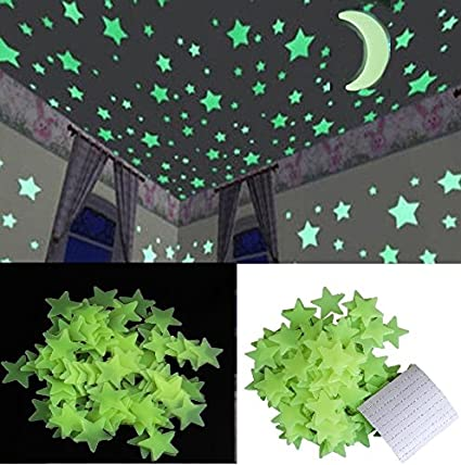 Stickonn Green Colour Fluorescent Glow in The Dark Star Wall Sticker(50 Stars and 1 Moon,Size: 3x3 cm)