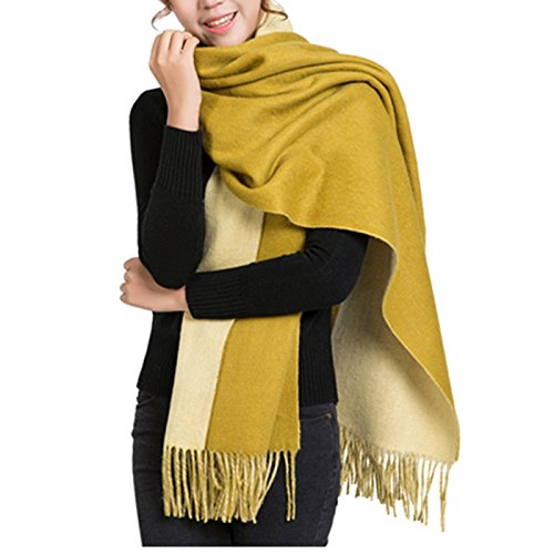 Saferin Women Large Warm Thick Double Sided Reversible Solid Cashmere Virgin Wool Pashmina Wrap Shawl Scarf w/ Gift Box (Yellow)