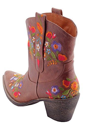 Eesgee Deb Kvinners Brunt Skinn Mote Cowboy Boots Med Broderte Blomster  Brune Med Blomster Broderi ...