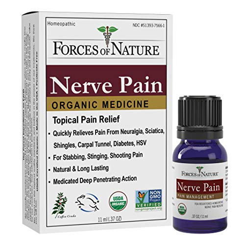 Forces of Nature -Natural, Organic Nerve Pain Relief (11ml) Non GMO, No Harmful Chemicals -Fast Acting Anti-Inflammatory Relief for Pain Associated with Sciatica, Diabetes, Shingles, Neuropathy (Home Remedies To Treat Sciatic Nerve Pain)