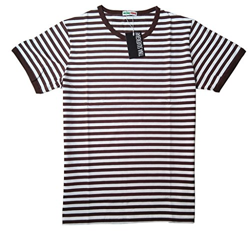 [Mens Short Sleeve Crew Neck Cotton Stripe Tee Shirt,Coffee,Medium / label XL] (Pugsley Addams Costume)