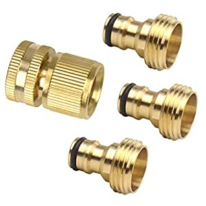 Set of 4 Male and Female 3/4 Inch Garden Hose End and Faucet Quick Connector Set