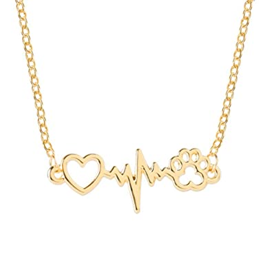 acf02484d Amazon.com: MIXIA Cute Animal Vintage Jewelry Necklaces Silver Love Cats  Dogs Puppy PawsPrint Love ECG Heart Heartbeat Necklace Paw Print Pendants  Necklace ...