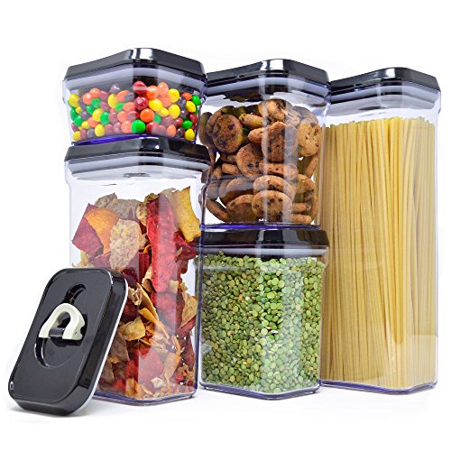 Royal Air-Tight Food Storage Container Set – 5-Piece Set – Durable Plastic – BPA Free – Clear Plastic with Black Lids