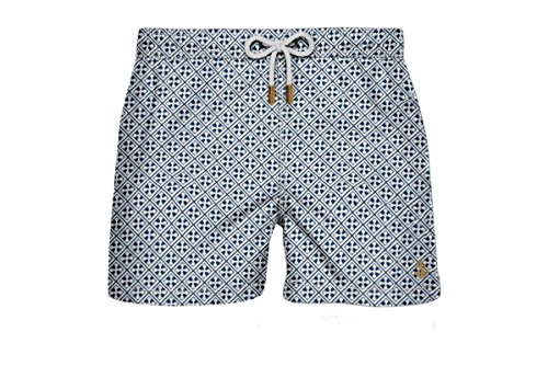 Retromarine New York Men's Japanese Vintage White Swim Trunk L White / Blue