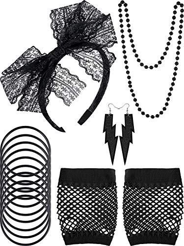 JUMUU 80s Lace Headband Earrings Fishnet Gloves Necklace Bracelet for 80s Party (5 Set, Black) -