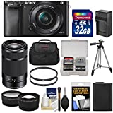 Sony Alpha A6000 Wi-Fi Digital Camera & 16-50mm & 55-210mm Lens with 32GB Card + Case + Battery/Charger + Tripod + Tele/Wide Lens Kit