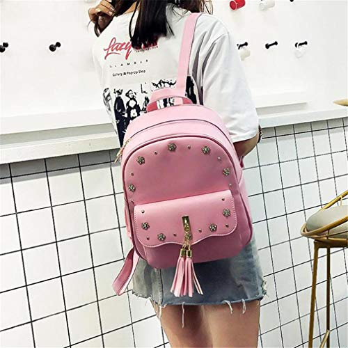 PU 3Pcs Leather Set School 11 Pink White 81 Inches Shoulder Bag Tassel a55qnxFUS