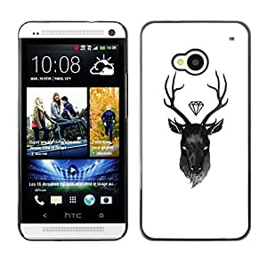 Be Good Phone Accessory // Dura Cáscara cubierta Protectora Caso Carcasa Funda de Protección para HTC One M7 // deer diamond white black antlers
