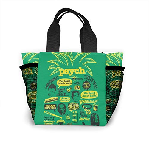 Psych Pineapple Quote Mash Up Lunch Bag Large Capacity, Resistant To Dirt And Easy To Clean, Two Mesh Pockets On Both Sides. -
