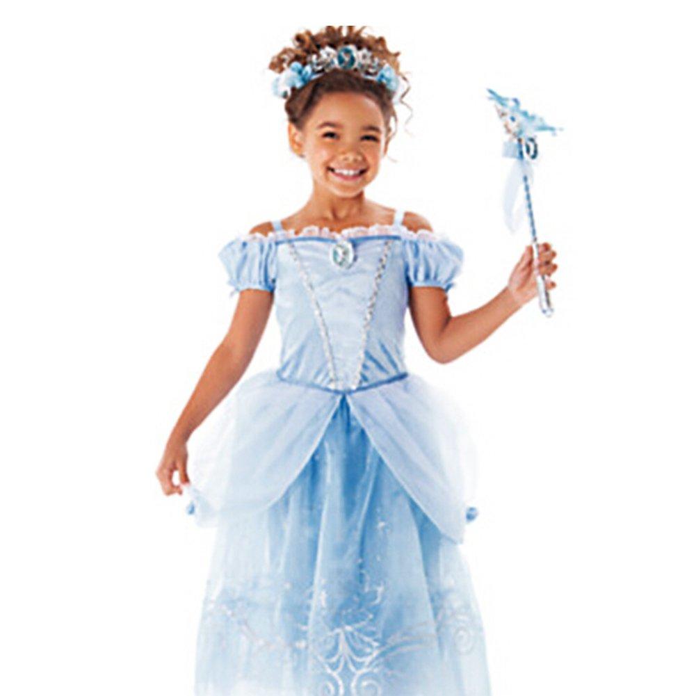 Moin Vestido de falda de gasa Disfraz de Princesa Cenicienta azul Linda Hermosa Para Niñas: Amazon.es: Juguetes y juegos