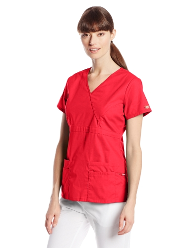 Dickies Women's EDS Signature Scrubs Jr. Fit Mock Wrap Top, Red X-Small -