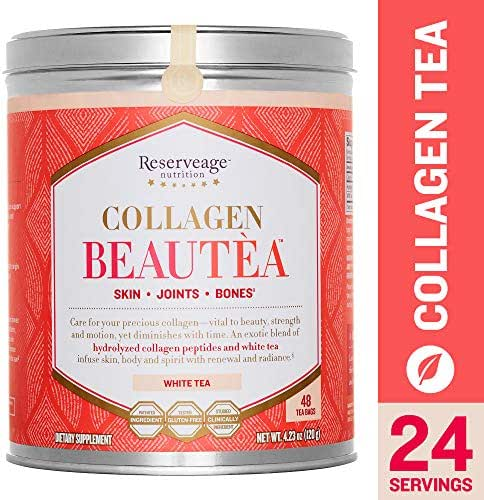 Reserveage - Collagen Beautea, Botanical Support for Joints, Bones, and to Help Reduce Wrinkles for Youthful Skin with Collagen Peptides and White Tea, White Tea, 4.23 oz (24 Servings)