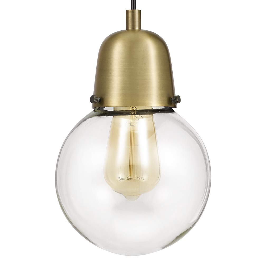 Rivet Mid Century Glass Globe Plug-In Hanging Pendant Lamp With Edison Light Bulb – 6.25 x 6.25 x 9.75 Inches, Gold