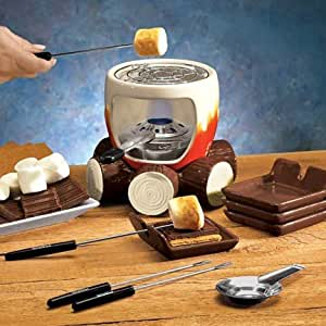 S'MORES MAKER COMPLETE SET (INCLUDES: SMORES MAKER, STEEL GRILL, FUEL HOLDER, FLAME SNUFFER, 4 FORKS AND 4 PLATES!)
