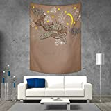 smallbeefly Whale Wall Tapestry Steampunk Whale Flying in The Air with Moons and Stars Artistic Hand Drawing Home Decorations for Living Room Bedroom 57W x 74L INCH Brown and White