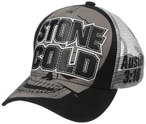 WWE Mens Superstar Steve Austin Stone Cold Denim Truckers Cap, Black, One Size