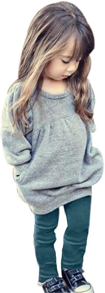 Mbby Tuta Ragazze 2-6 Anni Completo Bambino Ragazza 2 Pezzi Tute in Cotone Tinta Unita Maglietta Pantaloni Set Caldo Manica Lunga Leggera Antivento