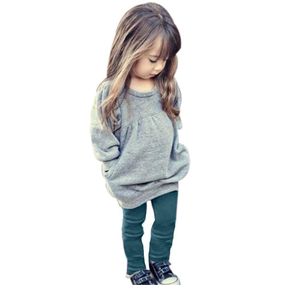 Mbby Tuta Ragazze, 2-6 Anni Completo Bambino Ragazza 2 Pezzi Tute in Cotone Invernale Autunno Tinta Unita Maglietta + Pantaloni Set Caldo Manica Lunga Leggera Antivento