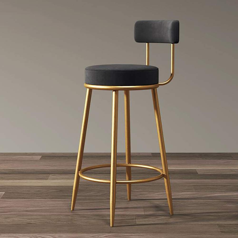 LoveGlass Modern Furniture Barstools,Velvet Wrought Iron Bar Stool with Backrest Gold Metal Leg,Counter Height Stools Dining Chair