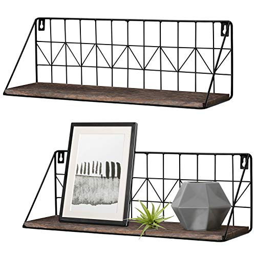 (Mkono Wall Mounted Floating Shelves Set of 2 Rustic Metal Wire Storage Shelves Display Racks Home Decor)