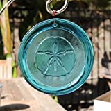 4-Inch Sand Dollar Suncatcher In Aqua from our Beach Collection - A Stunning Window Ornament And Gift From Mission Glass Works - Pressed from Carved Steel Dies Made in the USA