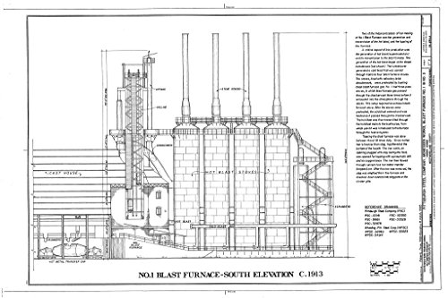 Blast Furnace Steel - Blueprint Diagram No. 1 Blast Furnace, South Elevation, c. 1913 - Pittsburgh Steel Company, Monessen Works, Blast Furnace No. 1 & No. 2, Donner Avenue, Monessen, Westmoreland County, PA 12in x 08in