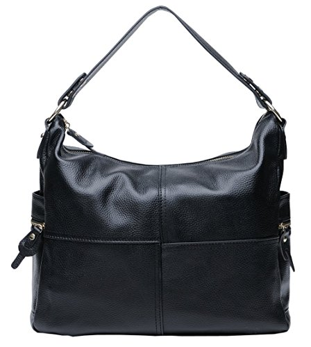SAIERLONG New Womens Black Fashion Soft Leather Handbags Shoulder ()