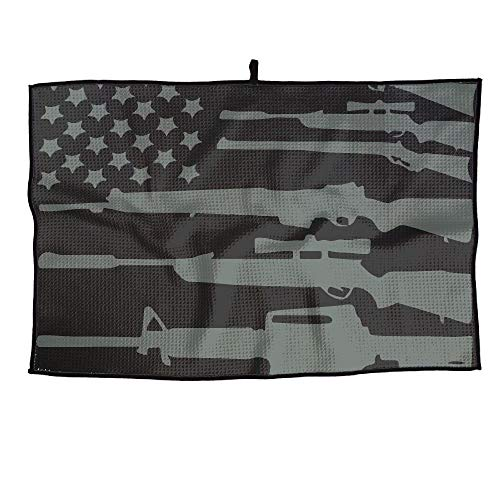 (Gun USA Flag Black Golf Towel 23.6x15 Inches Fashion Sports Player Towel)