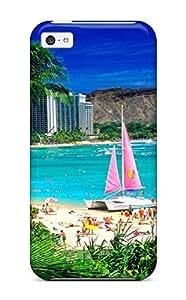 Best 3591140K60954769 ipod touch4 Hard Back With Bumper Silicone Gel Tpu Case Cover Waikiki Oahu Hawaii
