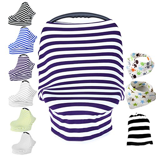 Baby Car Seat Cover & Drawstring Carry Bag Shower Gift Breathable Stretchy Universal 4 in 1 Multi-Use Infant Carseat Canopy Covers Shopping Cart High Chair Stroller (Purple/White Stripe) (Car Seat Canopy Cover Purple compare prices)