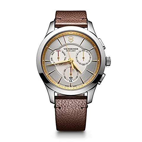 Victorinox Men's 'Alliance' Swiss Quartz Stainless Steel and Leather Casual Watch, Color:Brown (Model: (Mens Leather Watches Small)