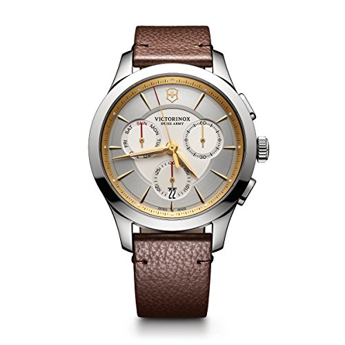 Victorinox Men's 'Alliance' Swiss Quartz Stainless Steel and Leather Casual Watch, Color:Brown (Model: - Than Best Stocks Dollars Less For 5