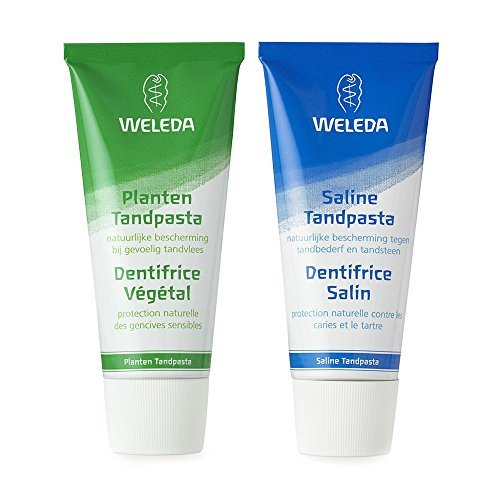 Weleda All Natural Fluoride Free Organic Plant Gel and Natural Sea Salt Dental Toothpaste Bundle For Powerful Cleaning With Baking Soda, Natural Silica, Chamomile, Myrrh and Mint, 2.5 fl. oz. each