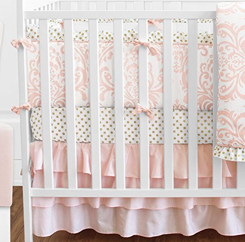 Blush Pink White Damask And Gold Polka Dot Amelia Baby
