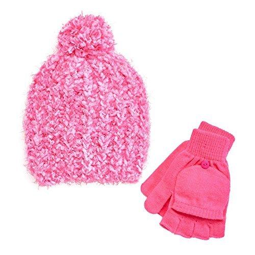 Girls 4-14 SO Marled Sparkle Pom-Pom Hat & Flip-Top Fingerless Gloves Set (Small, Pink) (Sparkle Fingerless Gloves)