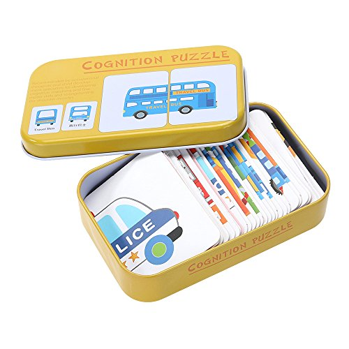 Mmrm Baby Learn English Chinese Match Puzzle Montessori Card Infant Education Puzzle Game for Baby Below 3 Years, Pattern Traffic