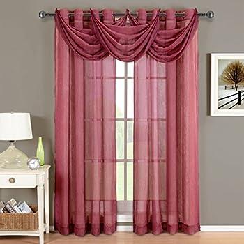 Amazon Com 2 Piece Solid Burgundy Sheer Window Curtains