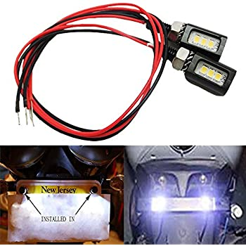 Amazon.com: Rupse 2 White LED Motorcycle, Car License Plate Screw ...