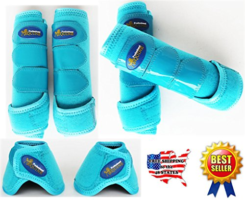 Professional Equine Horse Medium 4-Pack Sports Medicine Splint Bell Boots 4150D