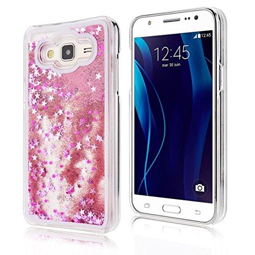 Funda Samsung J3 2016, CaseLover 3D Bling Bling Líquido Dinámico Arena Movediza Dura Carcasa Para Samsung Galaxy J3 2016 J310 (5.0 pulgadas) Glitter Estrellas Quicksand PC Plástic Claro Cristal Transp Rosado