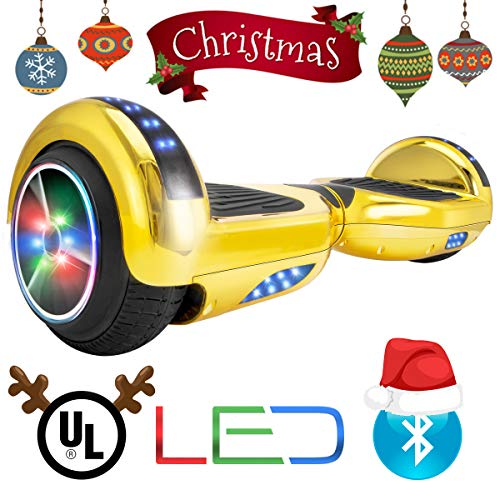 - XtremepowerUS Self Balancing Scooter Hoverboard UL2272 Certified, w/Bluetooth Speaker and LED Light (Gold)