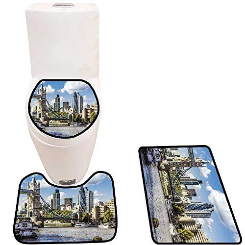 3 Piece Toilet mat Set fin cial District London The Tower Bridge Sets for Toilet mat