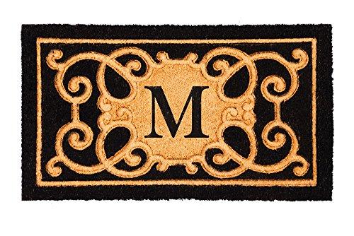 evergreen-debossed-monogram-letter-m-coir-mat-16-x-28-inches