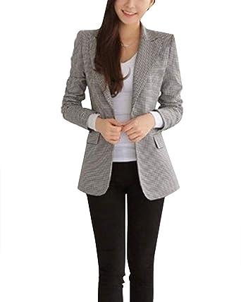 Largo Blazer Mujer Otoño Business Chaqueta De Traje Slim Fit Chic ...